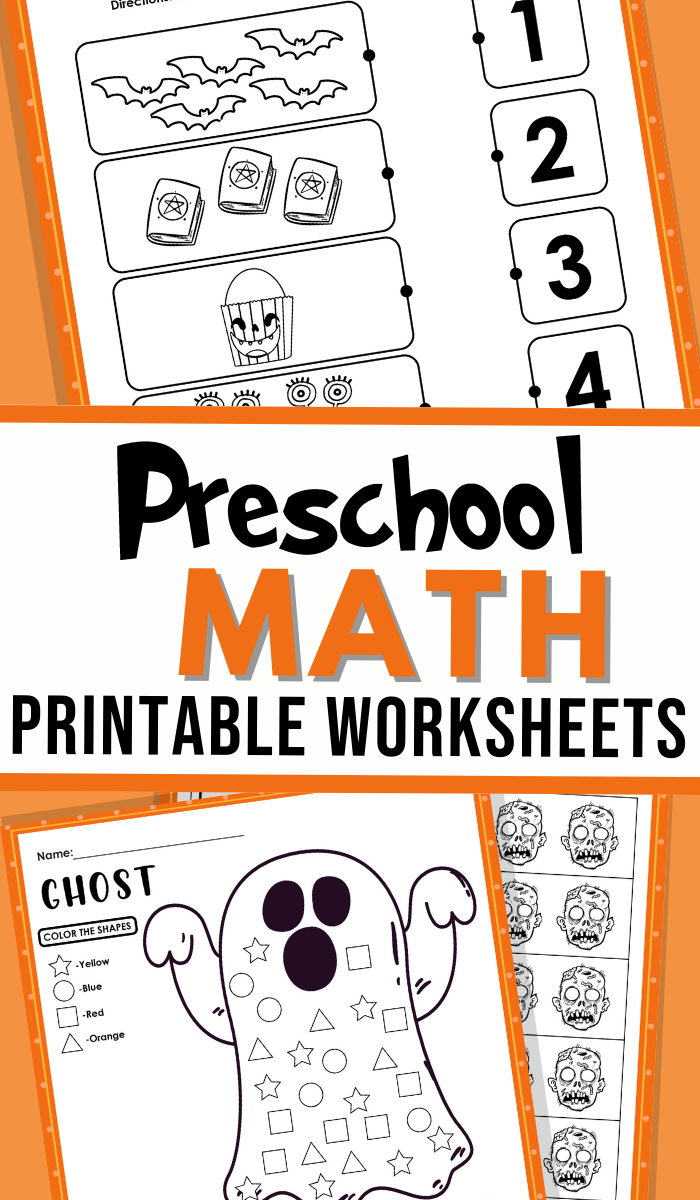flat lay pictures of the Preschool Halloween Math Worksheets