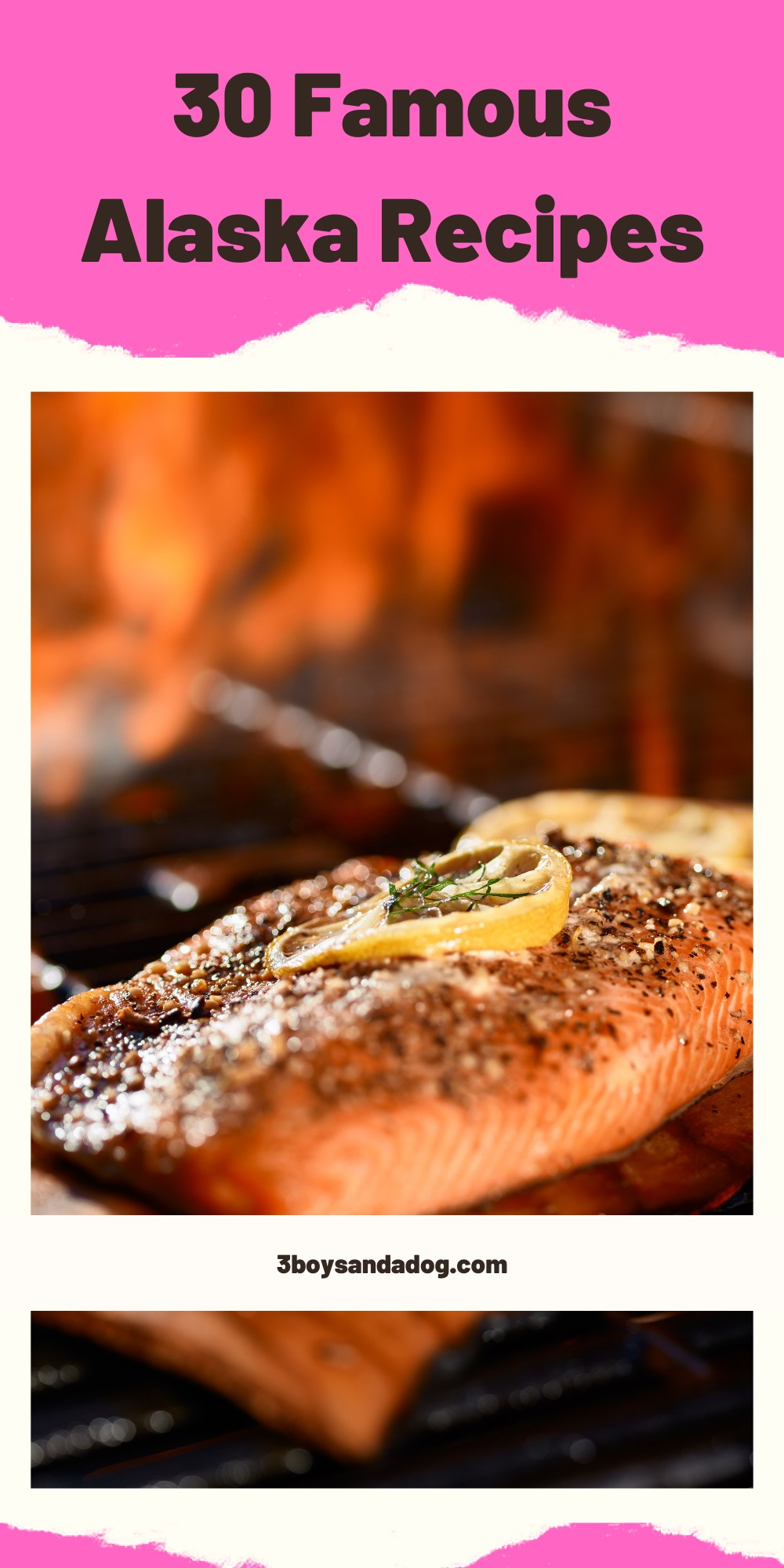 """Pin image """"30 Famous Alaska Recipes"""" with a photo of smoked salmon on a plate"""