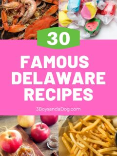 feature pin with four famous Delaware photos with the text,